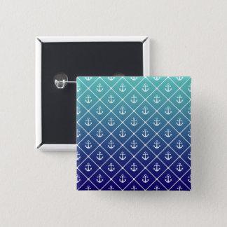 Ankers op gradiëntwintertaling aan blauwe vierkante button 5,1 cm