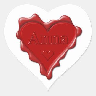 Anna. De rode verbinding van de hartwas met naam Hart Sticker