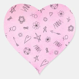 Anna Gepersonaliseerd roze de waterverfpatroon van Hart Sticker