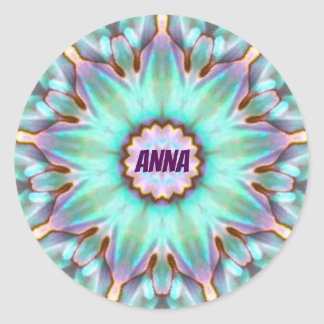 ANNA ~ Gepersonaliseerde Paua Shell Fractal ~ van Ronde Sticker