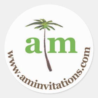 Anna Murray Uitnodigingen Ronde Sticker