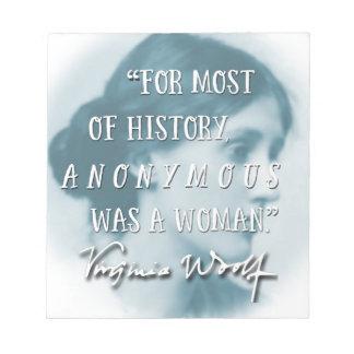 Anoniem was een het citaatblauw van de Vrouw ~ Kladblokken