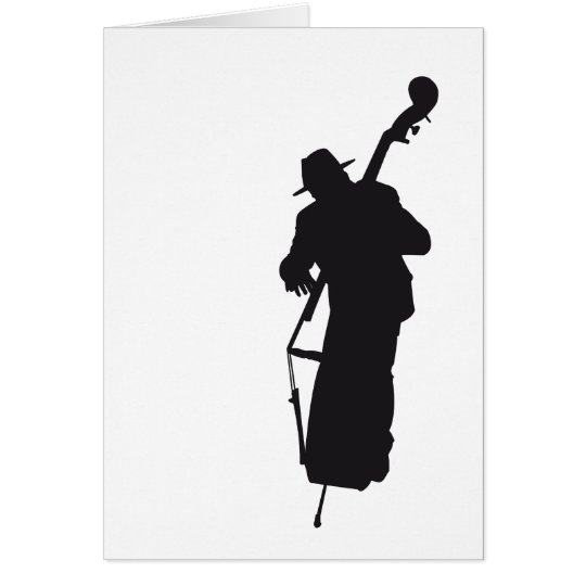 ansichtkaart silhouet double bass player