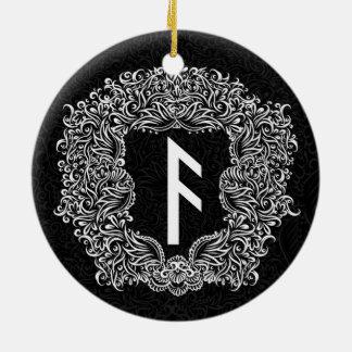 Ansuz-rune/Welvaart, Vitaliteit Rond Keramisch Ornament