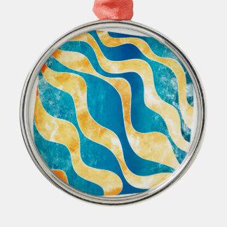 Antaressia - blauwe zon zilverkleurig rond ornament