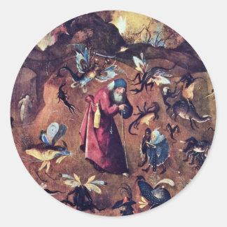 Anthony met Monsters. Door Hieronymus Bosch Ronde Sticker