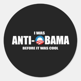 Anti-Obama bumpersticker - ik was voordien Ronde Sticker