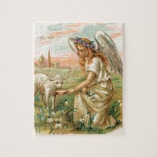 Antiek Engel die een Lam voeden Puzzel