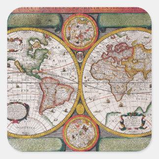 Antiek Franse Kaart van de Wereld Vierkante Sticker