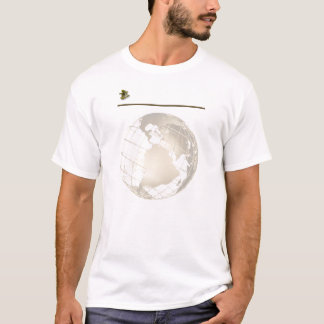 Antiek Goud en Sextant op Goud en Wit T Shirt