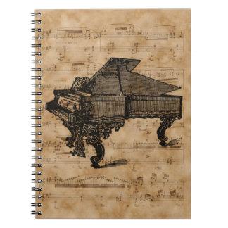 Antiek Grote Piano op de Vintage Pagina van het Notitieboek