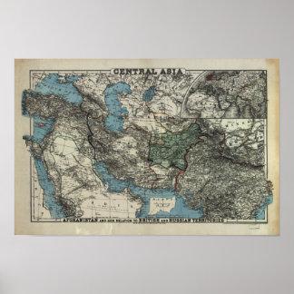 Antiek Kaart van Centraal Azië 1885 Poster