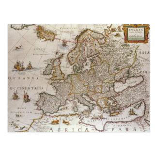Antiek Kaart van Europa door Willem Jansz Blaeu, Briefkaart