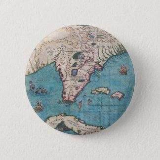 Antiek Kaart van Florida en Cuba Ronde Button 5,7 Cm