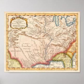 Antiek Kaart van Louisiane 1760 Poster