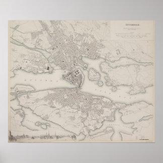 Antiek Kaart van Stockholm, Zweden Poster
