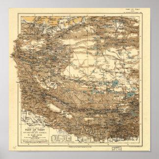 Antiek Kaart van Tibet 1906-1908 Poster