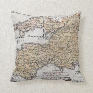 Antiek Kaart van Zuidelijk Engeland, Devon, Sierkussen