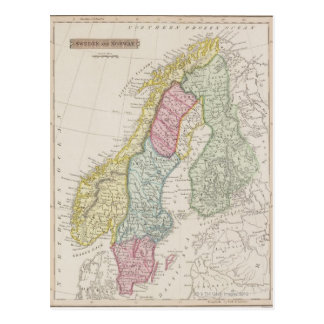 Antiek Kaart van Zweden