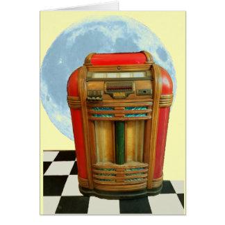 Antiek Klassieke Juke-box met Blauwe Volle maan Wenskaart