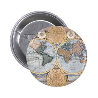 Antiek koele wereldkaart ronde button 5,7 cm