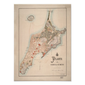 Antiek Portugese Kaart van Macao 1889 Poster