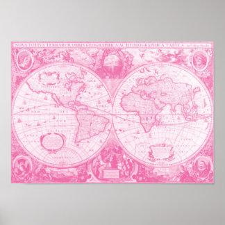 Antiek Roze Wereld Poster