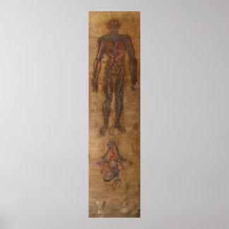 Antiek silk painting circulatory system poster