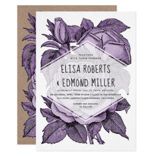 Antiek violet rozen vintage huwelijk bloemen kaart