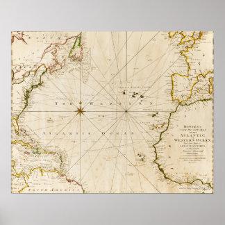 Antiek wereldkaart poster