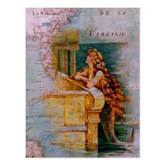 Antiek ZeevaartKaart & Meermin Briefkaart