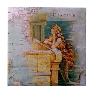 Antiek ZeevaartKaart & Meermin Keramisch Tegeltje
