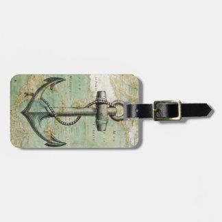 Antiek ZeevaartKaart met Anker Kofferlabels