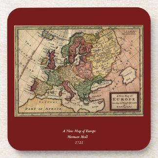 Antiquair 1721 Kaart van Europa door Herman Moll Drankjes Onderzetters