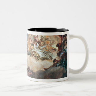 Apollo in zijn Blokkenwagen die van de Zon Tweekleurige Koffiemok