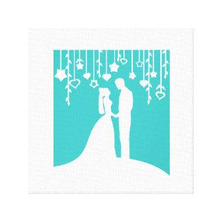 Aqua & de Witte Silhouetten van het Huwelijk van d Gallerij Wrapped Canvas