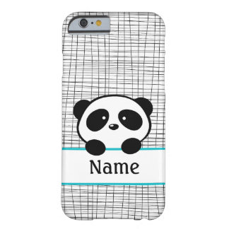 Aqua Gepersonaliseerde iPhone 6 van de Panda Barely There iPhone 6 Hoesje
