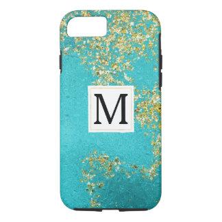 Aqua Gouden Faux Sparkly schittert Monogram iPhone 8/7 Hoesje