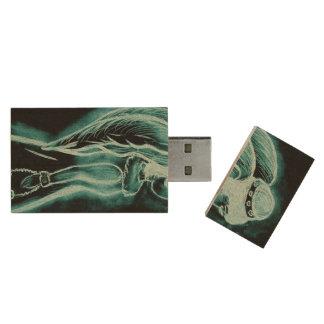 Aqua Omgekeerde Engel Houten USB 2.0 Stick