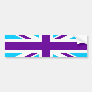 Aqua Paars Union Jack Bumpersticker