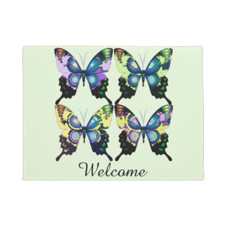 Aqua, Roze, en Geel - Elegante Vlinders Deurmat