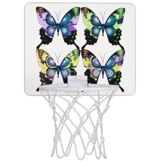 Aqua, Roze, en Geel - Elegante Vlinders Mini Basketbalring