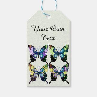 Aqua, Roze, Verpersoonlijking - Elegante Vlinders Cadeaulabel