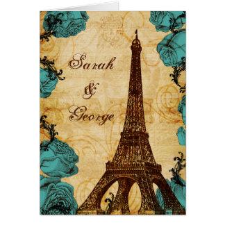 aqua vintage eiffel tower Paris thank you Greeting Cards