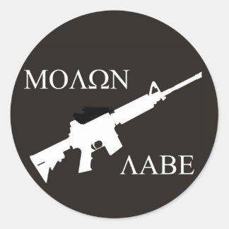 AR-15 Molon Labe Ronde Sticker