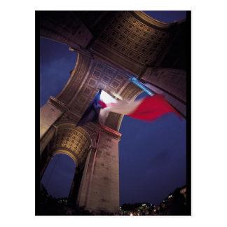 Arc DE Triomphe French Vlag Briefkaart