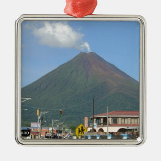 ARENAL VULKAAN, Costa Rica Zilverkleurig Vierkant Ornament