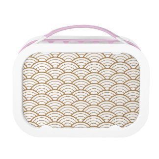 art deco, Japans ventilatorpatroon, goud, wit, Lunchbox