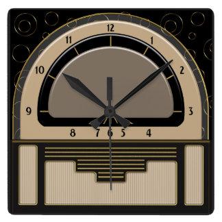 Art deco Radiola (Latte, Greige, Zwarte, Goud) Vierkante Klok