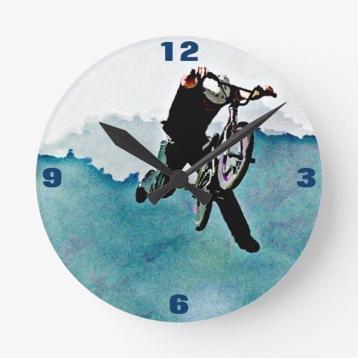 Art grunge van de stunt van de fiets van jongens ophang klok zazzle - Turquoise ruimte van de jongen ...